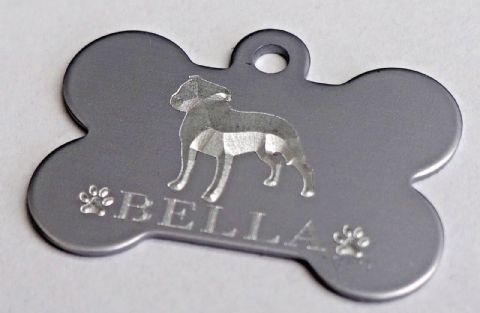 STAFFORDSHIRE BULL TERRIER 3D DESIGN ENGRAVED 32 OR 38mm TAG OR COLOURED BONE
